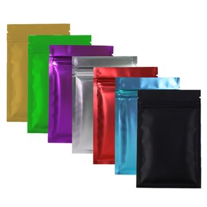 Isı Sızdırmaz Kilitli Paket Çanta Alüminyum Folyo Mylar Zip Kilitli Çantalar Gümüş / Altın / Siyah / Kırmızı / Mavi / Mor / Yeşil