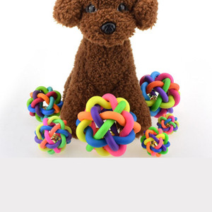 Dog Toys Dog Round Ball Small Bell toys Cat Toy Colorful Rubber with Small Bell Toy For Dogs Cat Chewing Playing