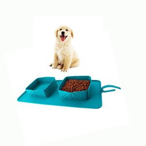 Collapsible Dog Bowl 식품 학년 실리콘 BPA 무료 접이식 팽창 식 그릇 애완용 고양이를위한 음식 식용 수유 휴대용 여행용 그릇