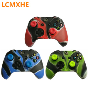 Camouflage Silicone Protective Skin Case & thumb Stick Grip caps for XBox One Controller joystick Protector green black Cover