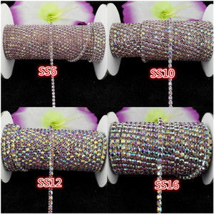 10yards roll ss6-ss16 Light purple AB rhinestones Crystal glass Rhinestone chain Compact Silver chain for phone,cups,mouse,applique