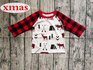يكمم غزلان ELK عيد الميلاد للأطفال أحمر أسود 1-7YEARS القطن الجليد طباعة GRAY بلايز BABY عيد الميلاد RED طويل راجلان TSHIRT الشبكة Coiwv