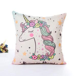 NEW INS cute pink unicorn series comfortable cotton pillow pillowcase 45*45cm linen stripes unicorn soft pillowcase