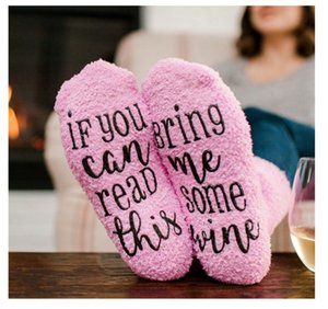 Winter Warm Socks IF YOU CAN READ THIS Bring Me Some Wine Letter Christmas Socks Pink Pile Loop Stockings Unisex Funny Socks Gift 2018