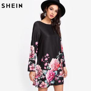 Vestido de la túnica de estampado de flores SHEIN Vestido de manga larga de cuello barco multicolor Vestido recto floral Otoño de las mujeres ocasionales Vestidos