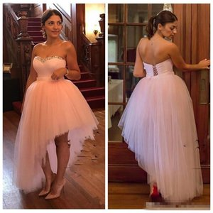 2018 Light Pink High Low Prom Dresses Sweetheart Beads Sequins Back Lace Up Cocktail Party Dress Tulle Custom made Cheap Homecoming Gowns