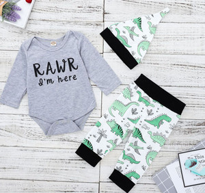 Ins Autumn Infant Baby Boys Set Kids Letters Tops Rompers + Dinosaur Pants +Hat Boy Babies Cotton Outfits Children Sets 14087