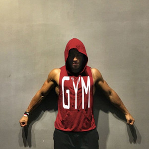New Fashion Fitness Tanks Tops Men Bodybuilding Sleeveless Workout Vest Casual Muscle Hoodies Cotton Tops Gymclothing