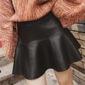 haut de cuir PU de la taille de nouvelles femmes de mode design plissé botte courte jupe coupe sexy avec un short de sécurité à l'intérieur, plus la taille XXL Culottes