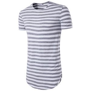 Hip-Hop High Street Summer Hot New Men's Round Hem High Street Stripe Long Short Sleeve T-Shirt