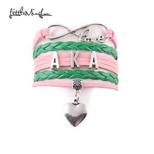 Venda inteiraLittle MingLou Infinito amor AKA Pulseira coração charme pulseiras pulseiras para mulheres homens trança de couro passatempo jóias melhor presente