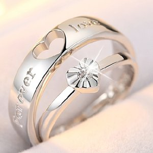 S925 Sterling Silveve couple rings, pair of wedding diamonds, open mouth, adjustable size, adjustable gift giving students.