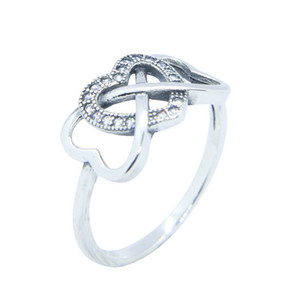 Free Shipping 925 Sterling Silver Crystal Heart Ring Fashion Jewelry Size 6-10 Lady Girls Punk Style Love Ring
