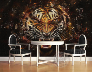 Retro pared paño impermeable papel pintado ambiental personalizado ventas directas tigre wallpaper sofá pared sala de estar restaurante TV pared especial