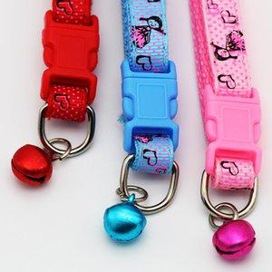 Colorido Dog Cat Collar Pontos Vermelhos impresso com Pretty Girls Imagem Pet Collar com Anel Bell Nylon made Moda Ajustável