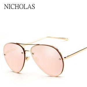 NICHOLAS Güneş Kadınlar Marka Bayan Rose Gold Ünlü Ayna Güneş Bayanlar Gözlük Feminino gözlük
