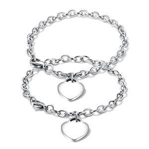 Gravure Gratuite Hommes Femmes En Acier Inoxydable Coeur Charme Lien Chaîne Bracelet ID Bracelet Couples Amitiés Bracelets