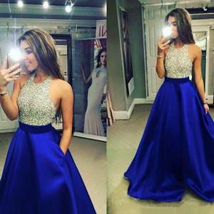 로얄 블루 볼 가운 댄스 파티 드레스 2020 섹시한 보석 긴 댄스 파티 드레스 이브닝 가운 반짝 구슬 몸통에 대한 청소년