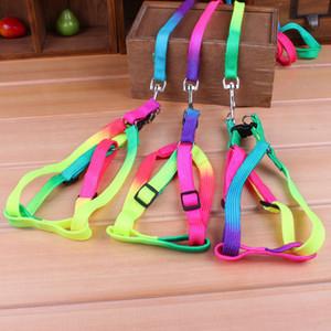 100pcs Funlife New Rainbow Color Adjustable Nylon Dog pet Leash Lead & Harness