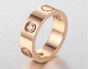 Loucas promoção de titânio anéis de aço por Mulheres Homens Casais Bands Wedding Ring CZ Pulseira jóias feminina