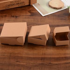 3 dimensioni piccole scatole di cartone marrone scatola di carta kraft per regalo bomboniera imballaggio di sapone biscotti dolci biscotti scatola di imballaggio di cioccolato