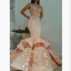 3D Floral Evening Pageant Vestidos 2018 Modest Peach Blush Spaghetti Organza Lace Trumpet Dubai Árabe Sexy Ocasião Prom Dress