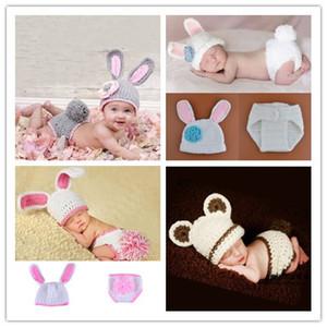 Crochet nouveau-né bébé filles accessoires de photo tenues lapin mignon tricoté nourrisson animal photographie Costumes nouveau-né photographie accessoires