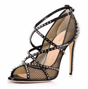 Donna Sliver Spikes Fishnet Estrema Tacchi 2018 Sexy Ladies Strappy Décolleté Black Mesh Shoes Peep Toe Rivetti Sandali Stilettos
