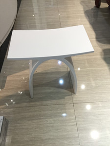 New Matte Modern Curved Design Bathroom Seat Shower Enclosure Stool Matt White Acrylic Solid Surface Sauna Chairs 0102