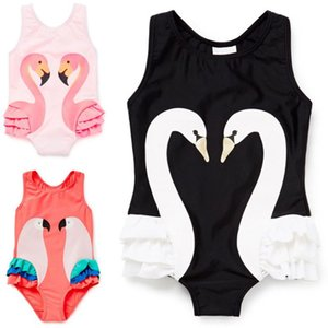 2018 New Girls Bikinis Summer Toddler Kids Girls Swimsuit Swimwear Bathing Suit Onepiece Cute Lovely Cartoon Swan Bikini+Swimming Cap
