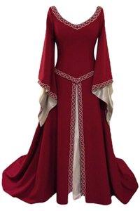 Mittelalterliche Retro Vintage Kostüm V-Ausschnitt langärmelige Horn Ärmel Langes Kleid Mittelalterliche Erwachsene Frauen Halloween Cosplay Kostüme