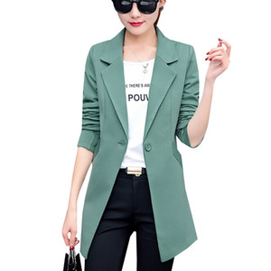 Nuovo Autunno Moda Donna Giacca Giacca Slim Fit WorkWear Suit Coat Donna Casual OL Ufficio Lungo Blazer Plus Size Outwear SF361 S18101303
