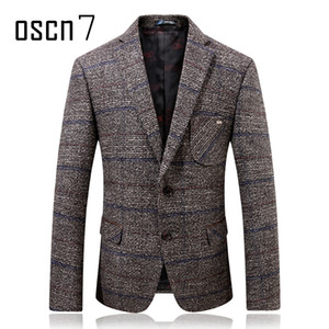 Oscn7 Grigio Hound Tooth Mens Blazer di lana 2017 Inverno più spessa Check Slim Fit Blazer Mens formale Casual Suit Suit da uomo