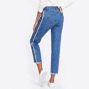 Jeans affusolati a vita media con bordi sfilacciati Pantaloni corti in denim casual blu da donna Vendita calda Jeans dritti con cerniera autunnale in autunno
