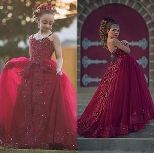 2018 borgoña cristales abalorios niñas vestidos del desfile correas espaguetis tul largo largo formal niños primera comunión vestidos de encaje apliques