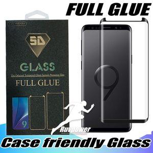 لسامسونج غالاكسي ملاحظة S9 9 8 S8 زائد لاصق S20 الترا كاملة الغراء الهاتف حالة الزجاج المقسى 3D منحني مع حزمة البيع بالتجزئة