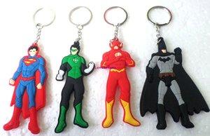 20 piezas de dibujos animados lindo DC Comics Superhéroe Superman Batman linterna verde flash Logo llavero juguetes llaveros para joyería al por mayor