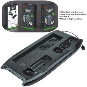Envío gratis Multifunción ventilador de refrigeración Disco Cargador Soporte vertical con 4 USB Hub para Xbox One X siempre disponible en stock