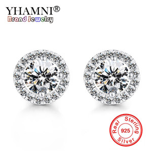 YHAMNI Romantic Jewelry Original Pure 925 Silver Stud Earrings For Women Wedding Elegant Cubic Zirconia Stone Earring E013