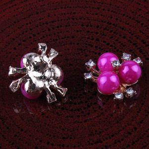 Flower Center Headwear 120pcs 20mm Bottoni di fiori decorativi con strass Flatback carino per accessori per capelli Perle lucide a tripla perla