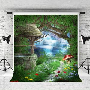 Sonho Fada 5x7ft Fotografia Tale Pano de fundo para fundo verde da árvore do partido das crianças Fairy Forest Photo Booth Fundos Estúdio Prop