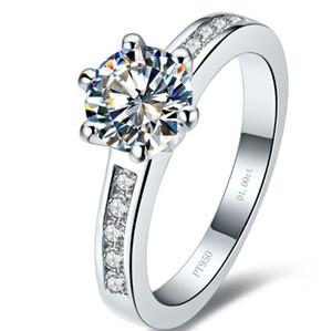 Toptan klasik düğün band katı gümüş yüzük beyaz altın kaplama 1ct sentetik elmas yüzükler gelin için hiçbir solmaya yüksek kalite