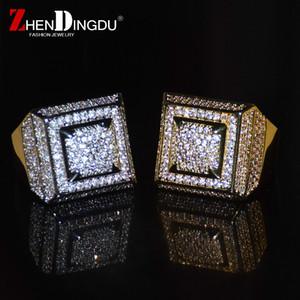 Bling Bling Kübik Zirkon Yüzük Bakır Malzeme Altın Gümüş Renk Buzlu Out Tam CZ Hip Hop Yüzükler erkek Moda Takı Hediye
