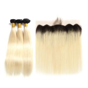 Класс 10A 1B / 613 Ombre пучки с фронтальной кружевной бразильский Прямой человеческих волос 3 пучка с 13 * 4 фронтальной кружевной