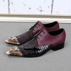 Avrupa tarzı demir kafa erkek hakiki deri ayakkabı serin erkek demir kafa oxfords en kaliteli dantel up soyunma parti ayakkabı erkekler 46