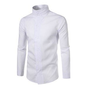 2017 Fashion Male Shirt Long-Sleeves Tops Personality Stand Collar Solid Color Mens Dress Shirts Slim Men Shirt