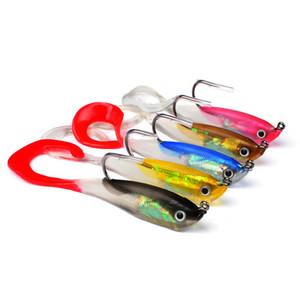 연약한 실리콘 VIB 물고기 Minnow Grub 미끼 10cm 14.7g 5colors 3D 눈지도 물고기 벌레 걸이 어업 유혹