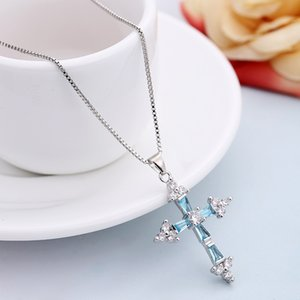 New hot sale Women Men 925 Sterling Silver fashion Zircon crystal jewelry charms cross cute necklace
