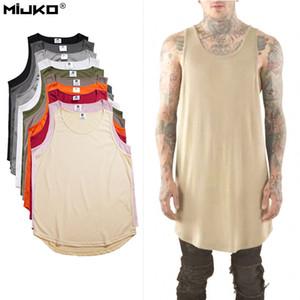 Wholesale- Tank Top Men Hip Hop Extend Long Tanktop Mens Summer Cotton Vest Sleeveless Solid Justin Bieber Tops Fashion Regatas Masculino