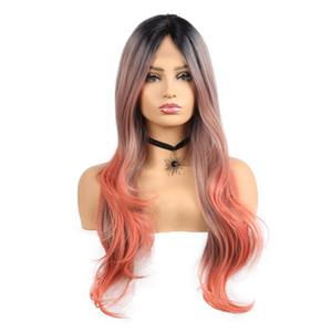 26inch longues perruques avant de lacet ondulé pour les femmes perruques synthétiques de fibre noire ombre orange couleur résistant à la chaleur